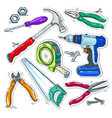 colourful set of carpentry tools hammer drill vector image