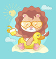 cute lion in beach for kids vector image