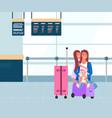 family at airport flight and departure baggage vector image