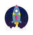 flat bright cartoon spaceship in a starry sky vector image vector image