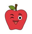 fresh apple fruit kawaii character vector image vector image