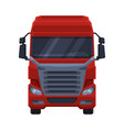 front view red truck cargo delivery semi truck vector image vector image