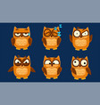 funny owls characters set cute birds with various vector image vector image