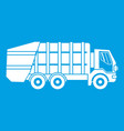 garbage truck icon white vector image vector image