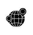 globe with pointers black icon sign on vector image