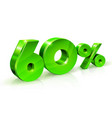 glossy green 60 sixty percent off sale isolated vector image vector image