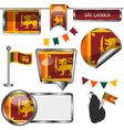 Glossy icons with Sri Lankan flag vector image vector image