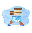 hands holding tablet with remote app vector image