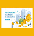 isometric mutual fund investment in construction vector image