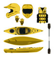 kayaking equipment and protective gear icon vector image