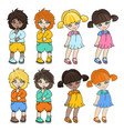 kid characters cartoon set vector image vector image