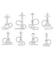 lineart oriental culture smoke cloud arabian cafe vector image vector image
