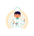 little boy in a chef robe and hat cooks a meal vector image