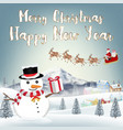 merry christmas happy new year with snowman vector image