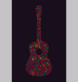 music poster guitar made of folk ornament vector image vector image