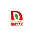 organic fruit juice nectar letter n icon vector image vector image