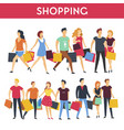 people with shopping bags icons vector image vector image