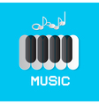 Piano Keyboard and Notes on Blue Abstract Music vector image vector image