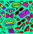 pop art girlish fashion sticker background pattern vector image