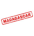 scratched madagascar rounded rectangle stamp vector image