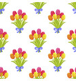 seamless pattern with beautiful bouquet tulips vector image