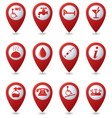 Set of 12 Services and Entertainment REDpointer vector image vector image