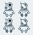 set of robots icons in linear style vector image vector image