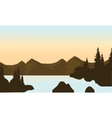 Silhouette of mounttain and river vector image vector image