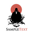 silhouette of vampire on a cloud of bats and red vector image