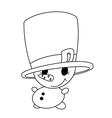 small snowman outlined vector image
