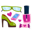 summer girl clothing and accessories vector image vector image