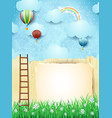 surreal landscape with stairway and hot air vector image