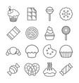sweets candy cakes icons set outline style vector image vector image