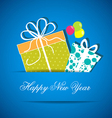 Two New year gift from white paper new year card vector image vector image