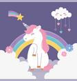 unicorn shooting star cloud hearts rainbow clouds vector image vector image