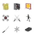 Warrior icons set cartoon style vector image vector image