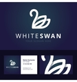 White swan logo and business card template vector image vector image