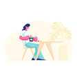 woman visiting fastfood cafe concept female vector image