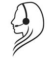 women headset symbol vector image vector image
