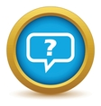 Gold question icon vector image