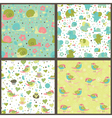 Set of seamless patterns with cartoon animals and vector image