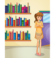 A lady standing in front of the bookshelves vector image vector image
