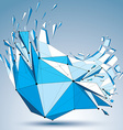 Abstract asymmetric blue low poly wrecked object vector image vector image