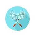 Badminton Racket flat icon with long shadow vector image vector image