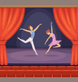 ballet stage dancer male and female dancing vector image