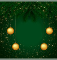beautiful green merry christmas banner with text vector image vector image