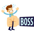 businessman being squeezed by boss big hand vector image