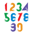 Calligraphic brush numbers hand-painted bright vector image vector image