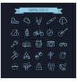 camping summer icons set vector image vector image