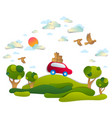 car travel and tourism red minivan with luggage vector image vector image